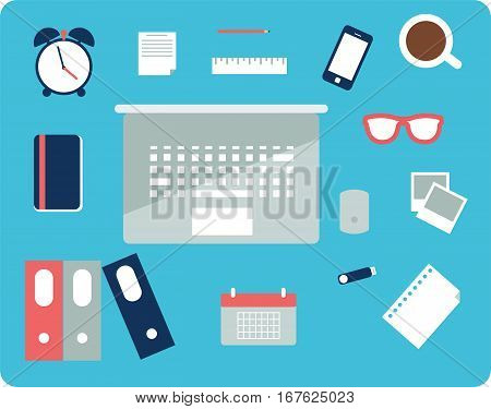 vector illustration of office or business icons flat