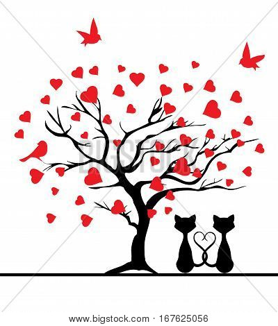 vector illustration of a valentine tree with red hearts and cats