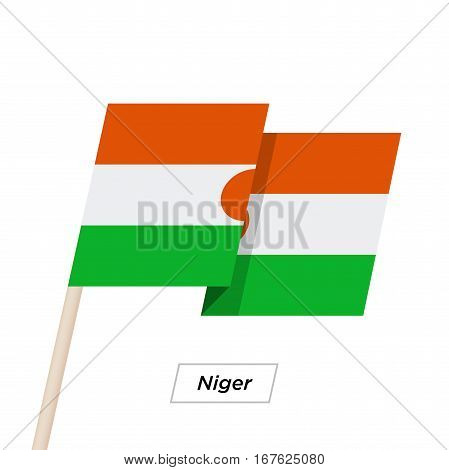 Niger Ribbon Waving Flag Isolated on White. Vector Illustration. Niger Flag with Sharp Corners