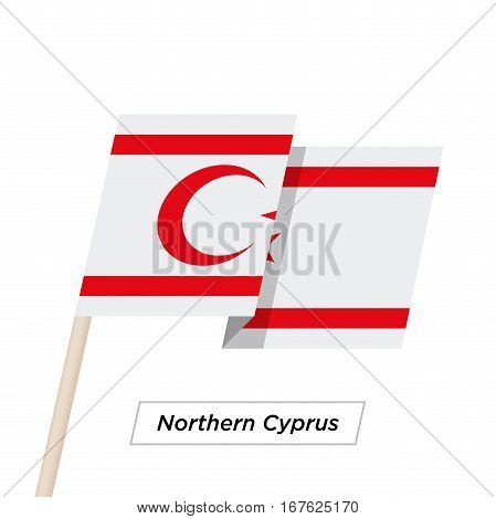 Northern Cyprus Ribbon Waving Flag Isolated on White. Vector Illustration. Northern Cyprus Flag with Sharp Corners