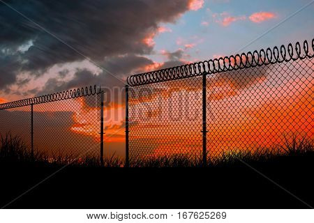 Chainlink fence against white background against sun set 3d