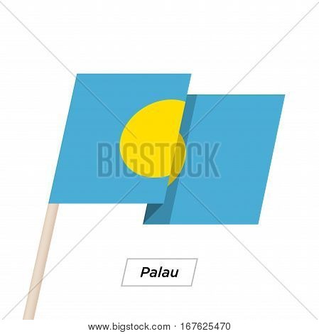 Palau Ribbon Waving Flag Isolated on White. Vector Illustration. Palau Flag with Sharp Corners