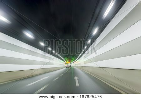 through tunnels under the river in shanghai with dynamic background