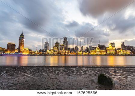 beautiful shanghai bund with huangpu river in nightfall China