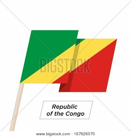 Republic of the Congo Ribbon Waving Flag Isolated on White. Vector Illustration. Republic of the Congo Flag with Sharp Corners
