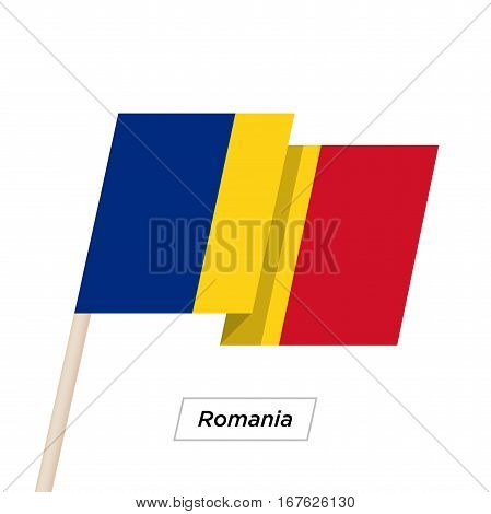 Romania Ribbon Waving Flag Isolated on White. Vector Illustration. Romania Flag with Sharp Corners