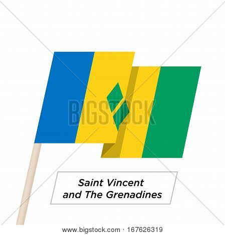 Saint Vincent and the Grenadines Ribbon Waving Flag Isolated on White. Vector Illustration. Saint Vincent and the Grenadines Flag with Sharp Corners
