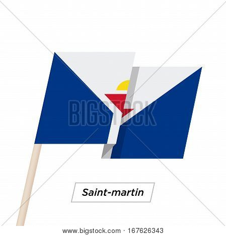 Saint-martin Ribbon Waving Flag Isolated on White. Vector Illustration. Saint-martin Flag with Sharp Corners