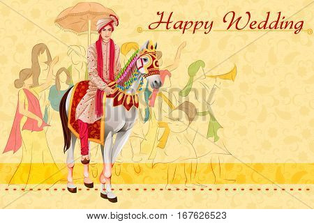 Vector design of Indian man on horse in wedding ceremony of India Baraati
