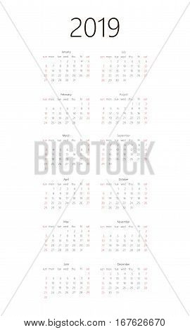 Calendar 2019 On White Background. Week Starts Sunday. Simple Vector Template