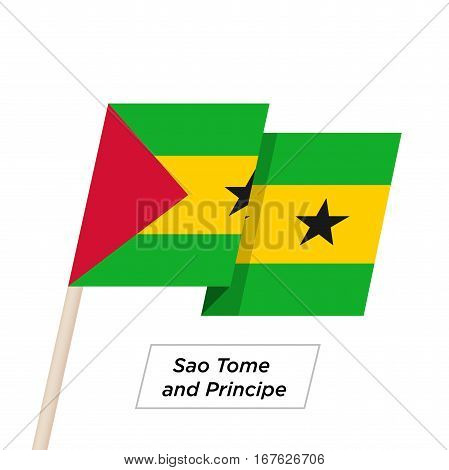 Sao Tome and Principe Ribbon Waving Flag Isolated on White. Vector Illustration. Sao Tome and Principe Flag with Sharp Corners