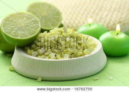 lime bath salt and some fresh fruit - body care