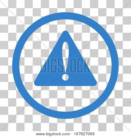 Warning Error rounded icon. Vector illustration style is flat iconic symbol inside a circle cobalt color transparent background. Designed for web and software interfaces.