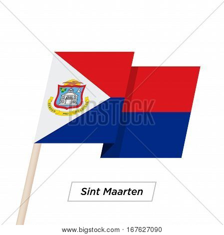 Sint Maarten Ribbon Waving Flag Isolated on White. Vector Illustration. Sint Maarten Flag with Sharp Corners