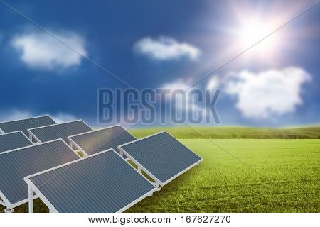 Digitally generated image of solar panel against sunny green landscape 3d