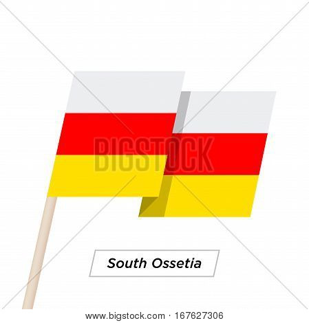 South Ossetia Ribbon Waving Flag Isolated on White. Vector Illustration. South Ossetia Flag with Sharp Corners