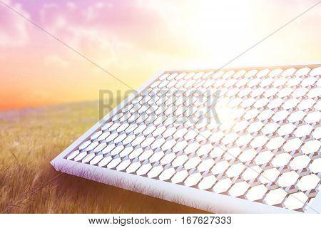 Digitally generated image of solar panel equipment against nature scene 3d