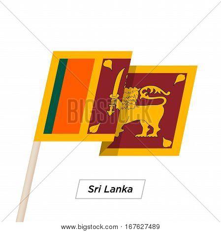 Sri Lanka Ribbon Waving Flag Isolated on White. Vector Illustration. Sri Lanka Flag with Sharp Corners
