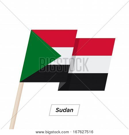 Sudan Ribbon Waving Flag Isolated on White. Vector Illustration. Sudan Flag with Sharp Corners