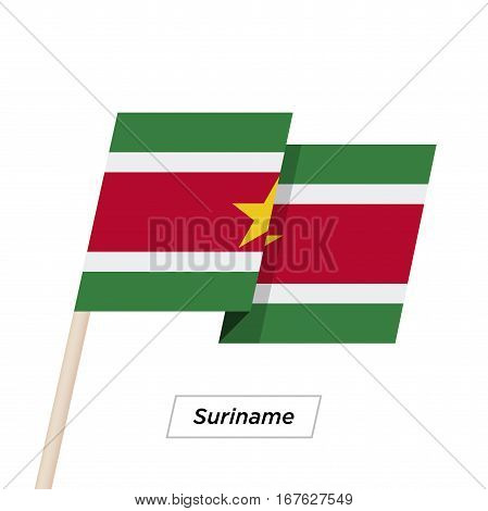 Suriname Ribbon Waving Flag Isolated on White. Vector Illustration. Suriname Flag with Sharp Corners