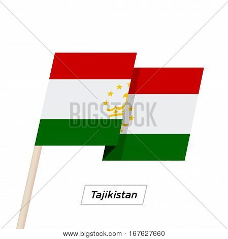 Tajikistan Ribbon Waving Flag Isolated on White. Vector Illustration. Tajikistan Flag with Sharp Corners