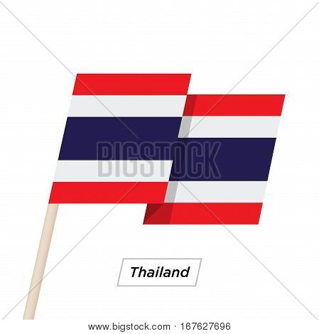 Thailand Ribbon Waving Flag Isolated on White. Vector Illustration. Thailand Flag with Sharp Corners