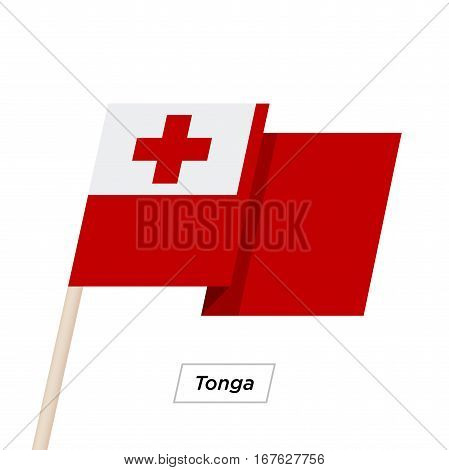 Tonga Ribbon Waving Flag Isolated on White. Vector Illustration. Tonga Flag with Sharp Corners