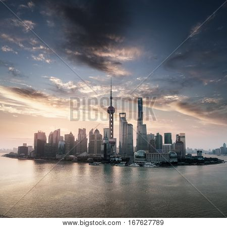 shanghai skyline view and beautiful sunrise sky background