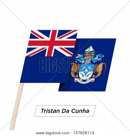 Tristan Da Cunha Ribbon Waving Flag Isolated on White. Vector Illustration. Tristan Da Cunha Flag with Sharp Corners