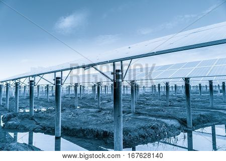solar power plantlarge area photovoltaic panels in wasteland