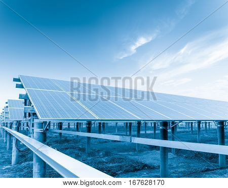 photovoltaic panels against a sunny sky solar power plant closeup