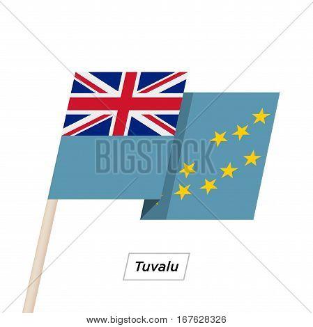 Tuvalu Ribbon Waving Flag Isolated on White. Vector Illustration. Tuvalu Flag with Sharp Corners