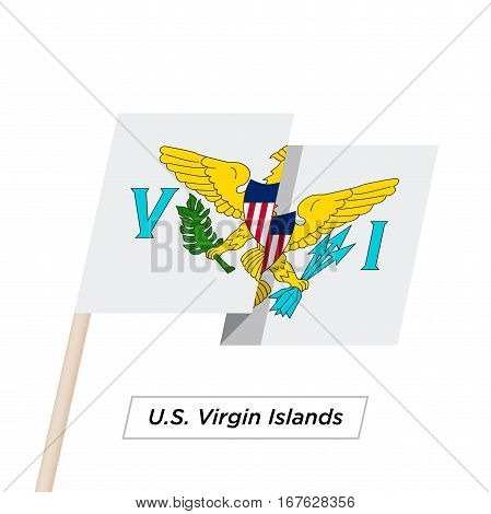 U.S. Virgin Island Ribbon Waving Flag Isolated on White. Vector Illustration. U.S. Virgin Island Flag with Sharp Corners