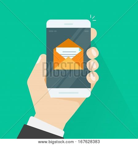 Mobile phone email vector illustration, flat style smartphone in hand with e-mail envelope message and letter inside, concept of newsletter received, inbox on cellphone