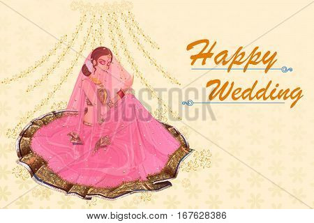 Vector design of Indian woman bride in Suhag Raat wedding ceremony of India