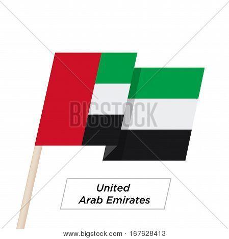 United Arab Emirates Ribbon Waving Flag Isolated on White. Vector Illustration. United Arab Emirates Flag with Sharp Corners