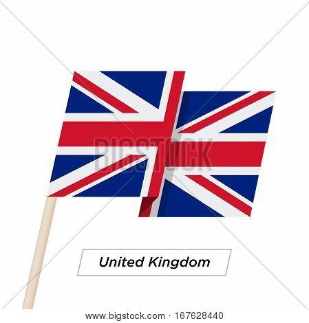 United Kingdom Ribbon Waving Flag Isolated on White. Vector Illustration. United Kingdom Flag with Sharp Corners