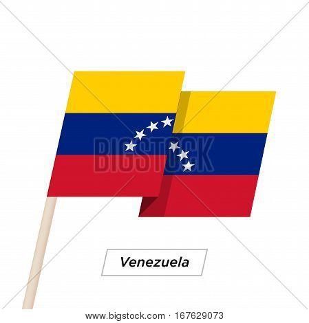 Venezuela Ribbon Waving Flag Isolated on White. Vector Illustration. Venezuela Flag with Sharp Corners