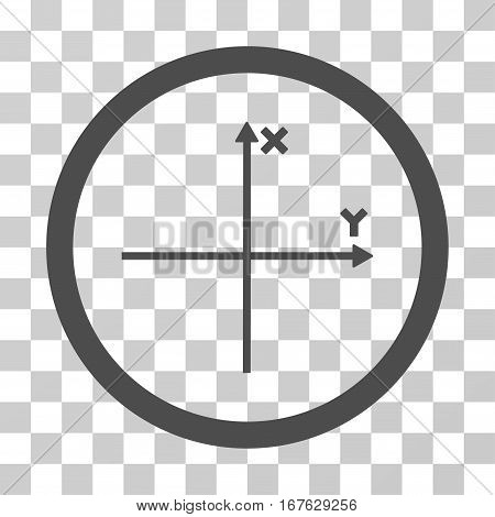 Coordinate Axis rounded icon. Vector illustration style is flat iconic symbol inside a circle gray color transparent background. Designed for web and software interfaces.