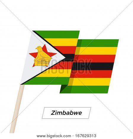 Zimbabwe Ribbon Waving Flag Isolated on White. Vector Illustration. Zimbabwe Flag with Sharp Corners