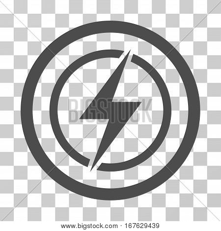Electrical Hazard rounded icon. Vector illustration style is flat iconic symbol inside a circle gray color transparent background. Designed for web and software interfaces.