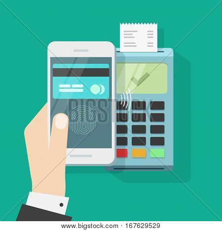 Wireless payment with mobile phone and terminal vector illustration, flat style smartphone in hand with credit card on display and fingerprint processed successful pay on nfc, contactless buy tech