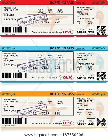 Three vector templates of boarding pass tickets. Concept of trip or travel