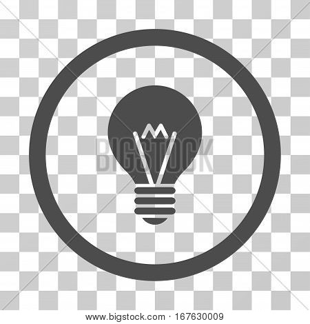 Hint Bulb rounded icon. Vector illustration style is flat iconic symbol inside a circle gray color transparent background. Designed for web and software interfaces.