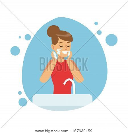 Woman Washing Face, Part Of People In The Bathroom Doing Their Routine Hygiene Procedures Series. Person Using Lavatory Room For The Daily Washing And Personal Cleanup Vector Illustration.