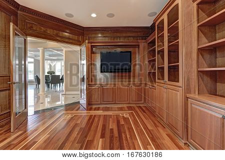 Wooden Interior Of Empty Room In Luxury Home
