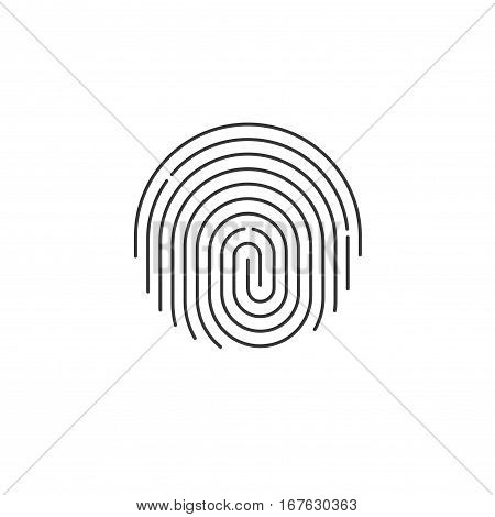 Fingerprint icon vector, round shaped black fingerprint isolated on white background