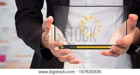 Businesswomans hands presenting against view of office interior with sticky note on window 3d