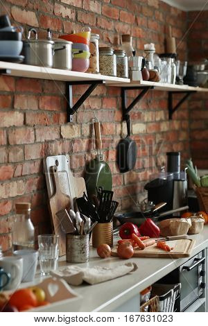 Kitchenware. Photo of kitchen interior