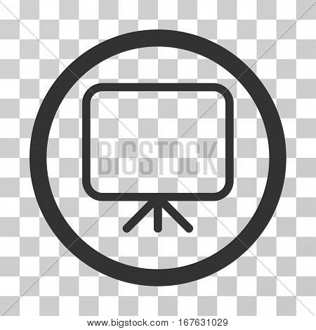 Presentation Screen rounded icon. Vector illustration style is flat iconic symbol inside a circle gray color transparent background. Designed for web and software interfaces.